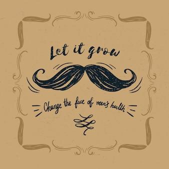 Fundo de conscientização de bigode movember com letras