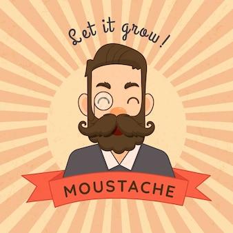 Fundo de conscientização de bigode movember em design plano
