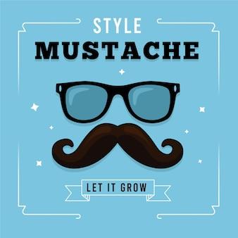 Fundo de conscientização de bigode novembro com óculos hipster
