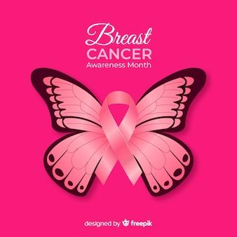 Fundo de conscientização de câncer de mama borboleta realista