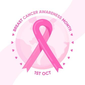 Fundo de conscientização do câncer de mama com globo