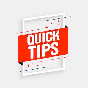 Fundo de conselhos com dicas rápidas e elegantes