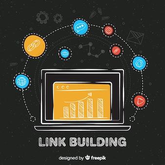 Fundo de construção de link de quadro-negro