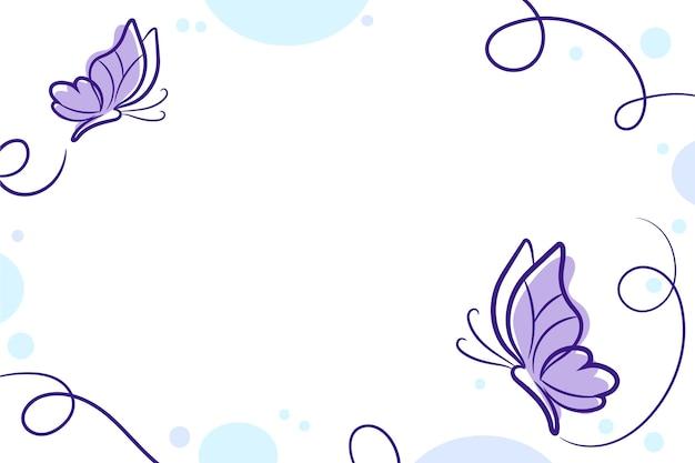 Fundo de contorno de borboleta desenhado à mão
