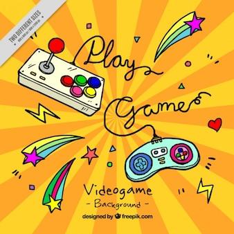 Fundo de controladores de jogos desenhados à mão