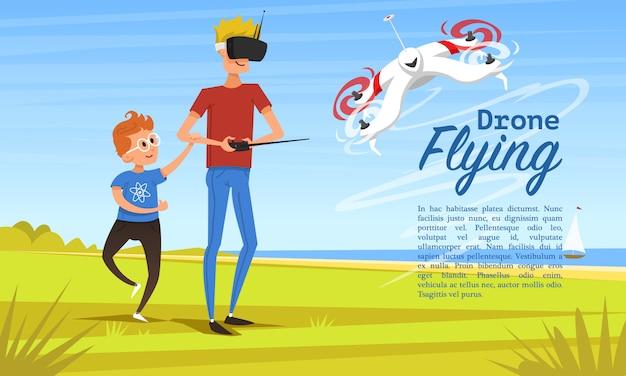 Fundo de controle remoto. conceito moderno drone para site, cartão e cartaz. homem ensina a criança a brincar ao ar livre no parque. robô de rádio, tecnologia de vídeo. piloto multicopter. veículo aéreo não tripulado.