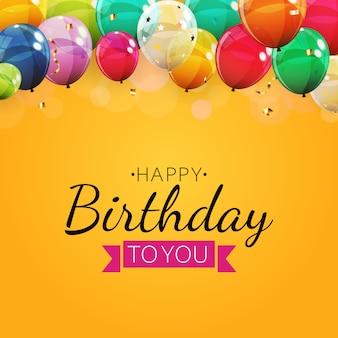 Fundo de convite de aniversário com balões. ilustração