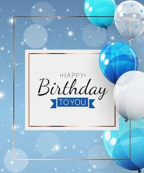 Fundo de convite de aniversário com balões. ilustração Vetor Premium