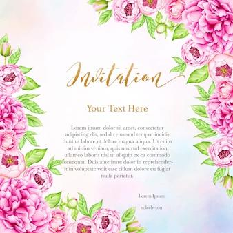 Fundo de convite de casamento com flores de peônia aquarela
