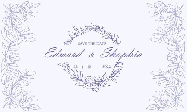 Fundo de convite de casamento floral vintage círculo azul desenhado à mão