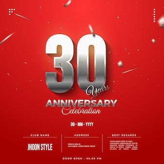Fundo de convite de celebração de 30º aniversário com números de prata
