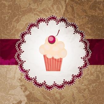 Fundo de convite de cupcake