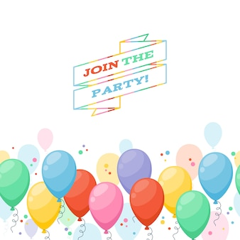 Fundo de convite de festa de balões coloridos. estilo de desenho animado simples.