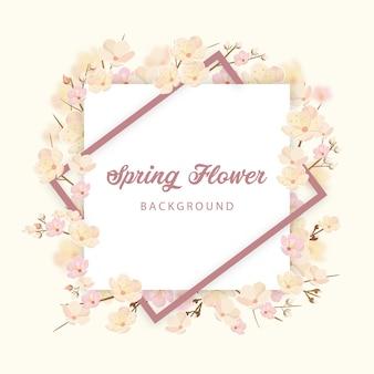Fundo de convite de flor de primavera para celebração