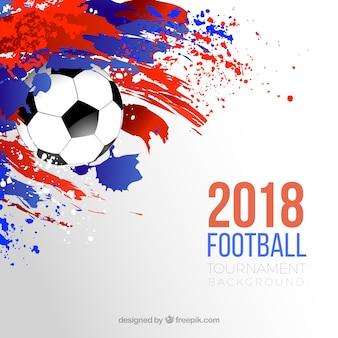 Fundo de copa do mundo de futebol com bola e manchas coloridas