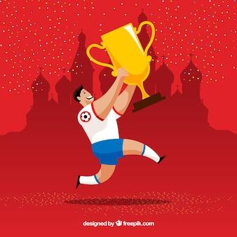 Fundo de copa do mundo de futebol com jogador e troféu
