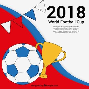 Fundo de copa do mundo de futebol de 2018 na mão desenhada estilo