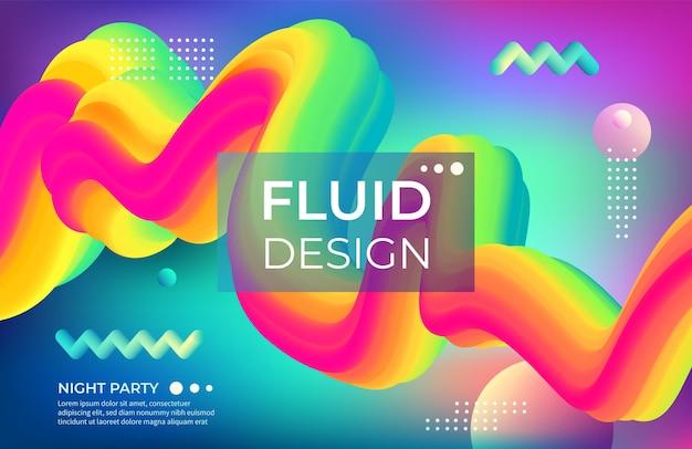 Fundo de cor abstrata. formas geométricas fluidas e objetos coloridos brilhantes