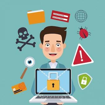 Fundo de cor azul homem programador segurando laptop com cadeado de segurança com correntes cruzadas