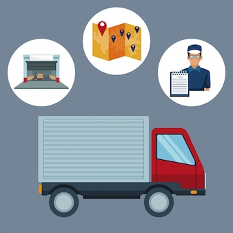 Fundo de cor com quadro circular de logística de armazenamento de ícones e caminhão de closeup