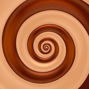 Fundo de cor de espiral de mistura de chocolate. ilustração vetorial