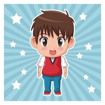 Fundo de cor listrada com estrelas e fofos surpresa de expressão de adolescente de anime