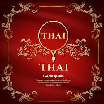 Fundo de cor vermelha, conceito tradicional tailandês as artes de thailan.