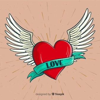 Fundo de coração alado