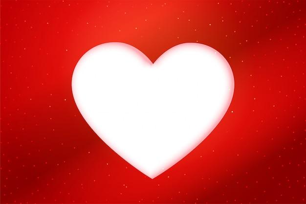 Fundo de coração branco estilo papercut vermelho
