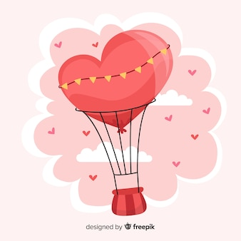 Fundo de coração de balão de ar quente de mão desenhada