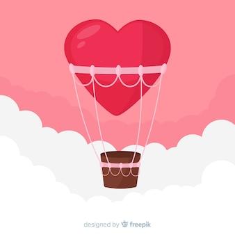 Fundo de coração de balão de ar quente