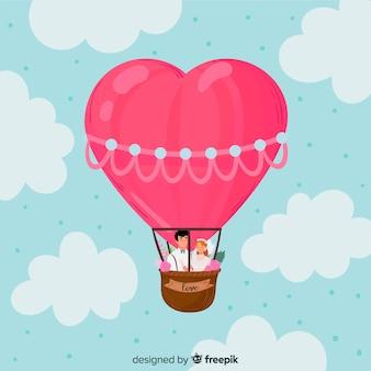 Fundo de coração de balão de mão desenhada