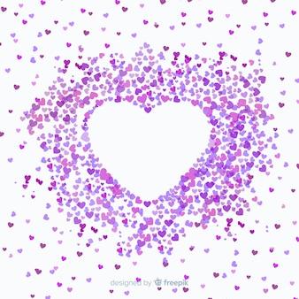Fundo de coração de confete