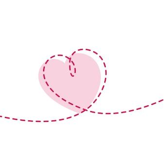 Fundo de coração de linha mínima