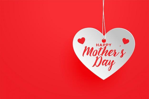 Fundo de coração feliz dia das mães tema vermelho