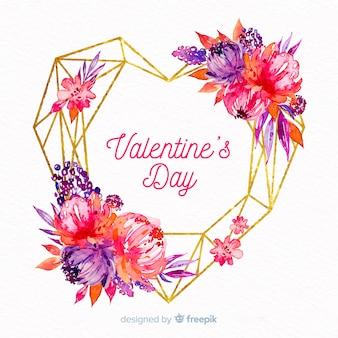 Fundo de coração floral em aquarela de dia dos namorados