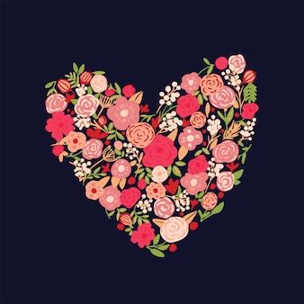 Fundo de coração floral mão desenhada