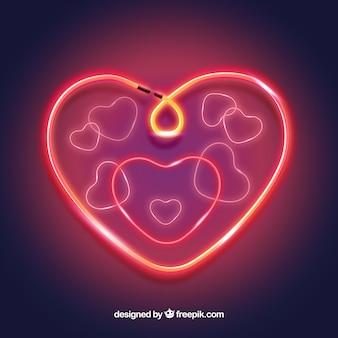 Fundo de coração isolado de néon