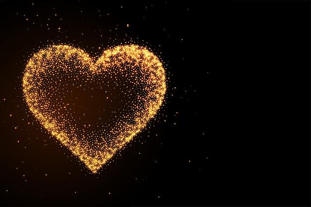 Fundo de coração preto brilhante brilho dourado