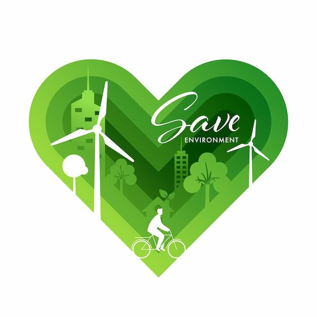 Fundo de coração verde de corte de camada de papel com eco city view para salvar o conceito de ambiente.
