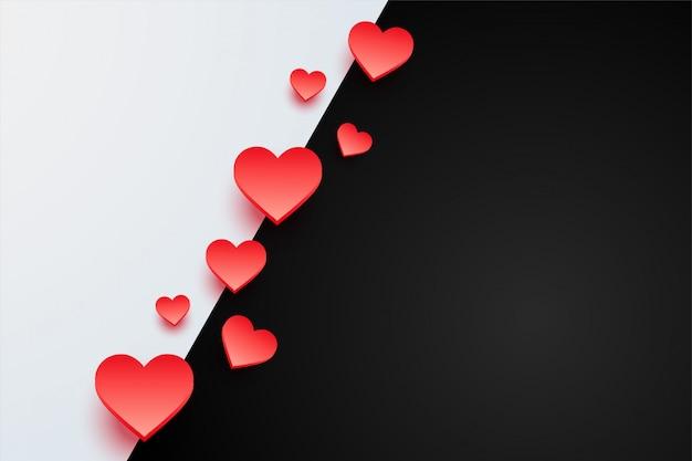 Fundo de corações bonitos com espaço de texto