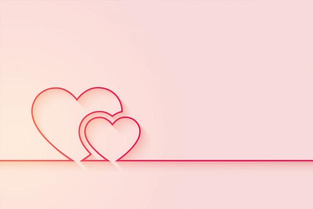 Fundo de corações de amor mínimo com espaço de texto