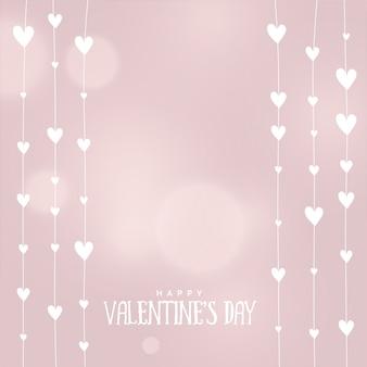 Fundo de corações de dia dos namorados em cores suaves