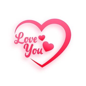 Fundo de corações de mensagem de amor romântico
