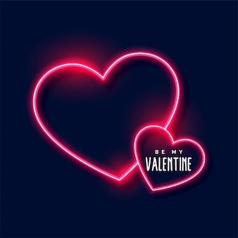 Fundo de corações de néon para dia dos namorados