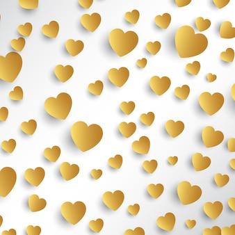 Fundo de corações de ouro