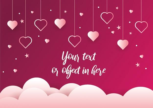 Fundo de corações de suspensão e dia dos namorados