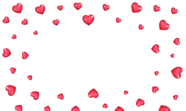 Fundo de corações do dia dos namorados. fronteira de corações vermelhos brilhantes realistas