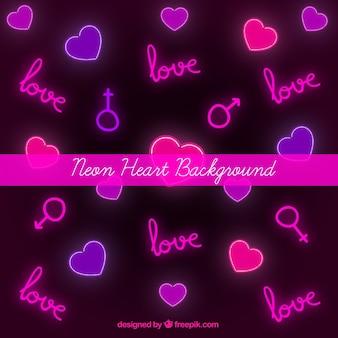Fundo de corações e símbolos de néon