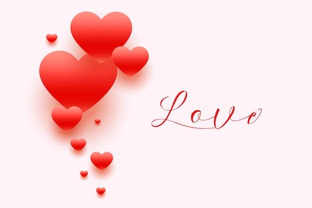 Fundo de corações elegantes com texto de amor